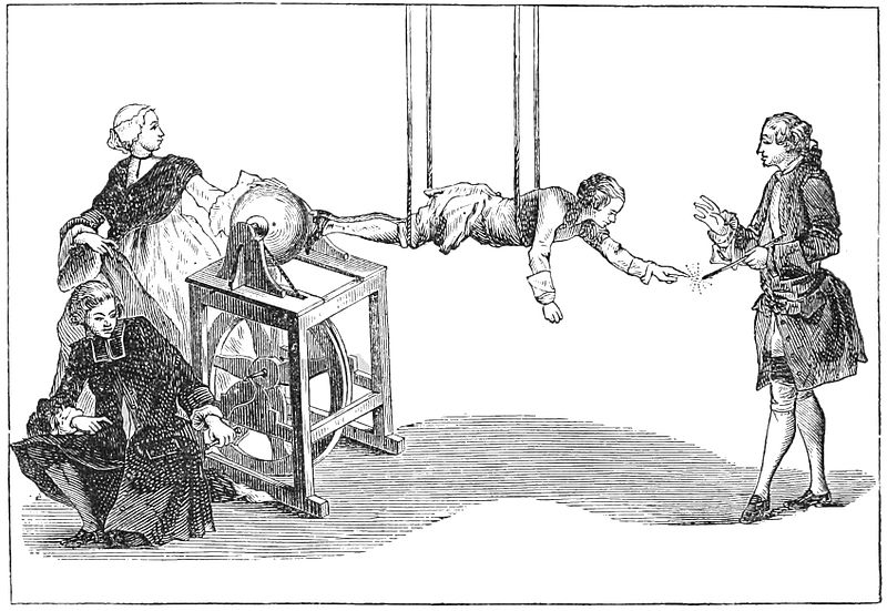 The electric boy - 18th century electrical demonstration.