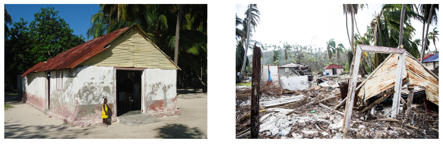 The church before the storm and after the hurricane had passed.