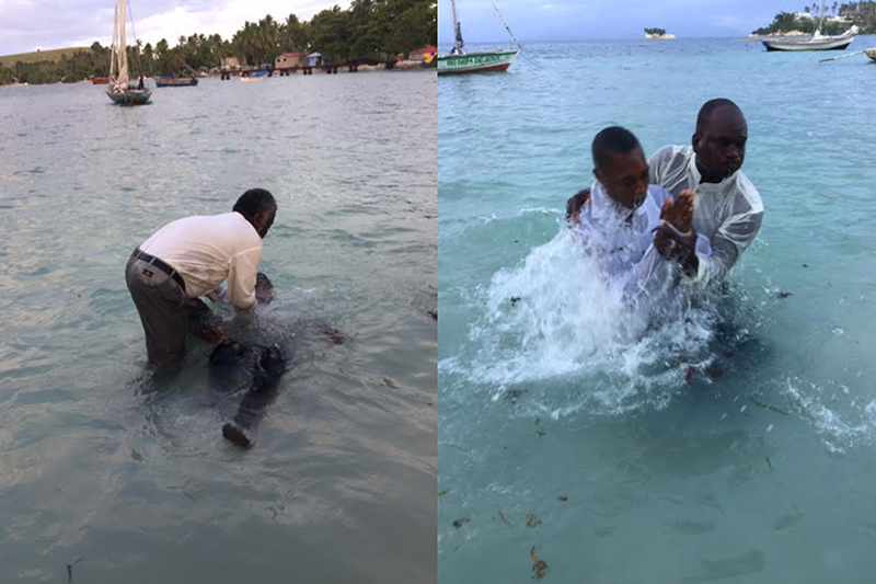 13 new believers on the beach, before being baptized in the sea in the name of Jesus Christ.