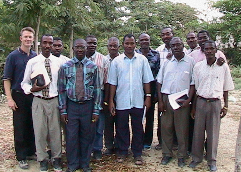 A 1997 photo of a Thomassique pastor training