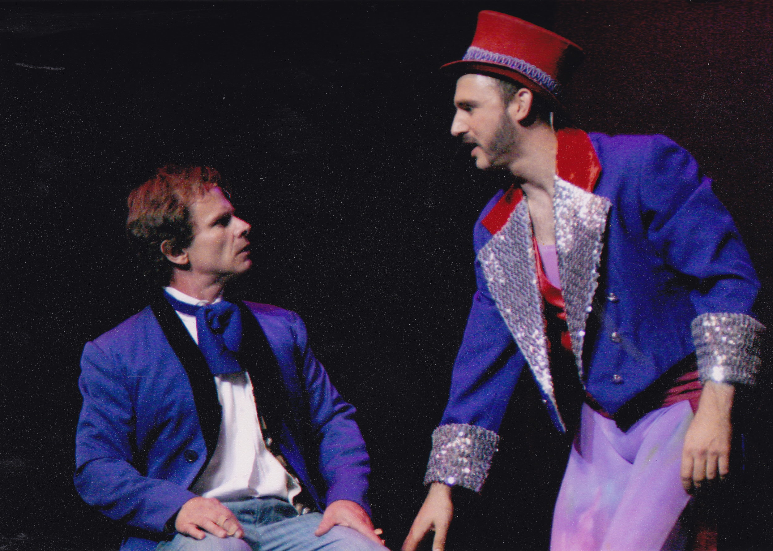 As the Ringmaster in  Barnum  at Cherry County Playhouse. Pictured with Peter Scolari.