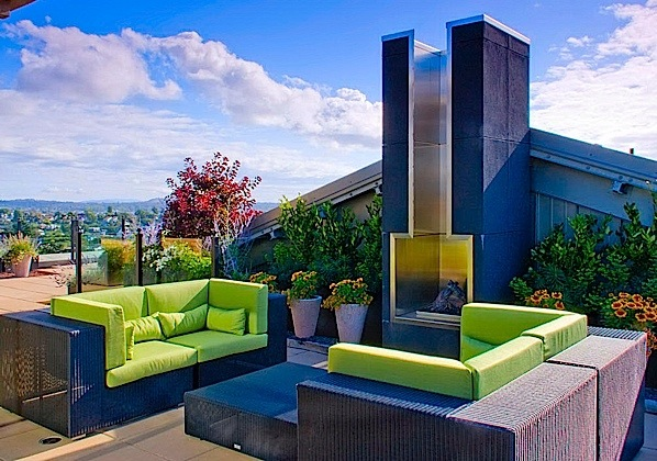 PENTHOUSE PATIO WITH FIREPLACE