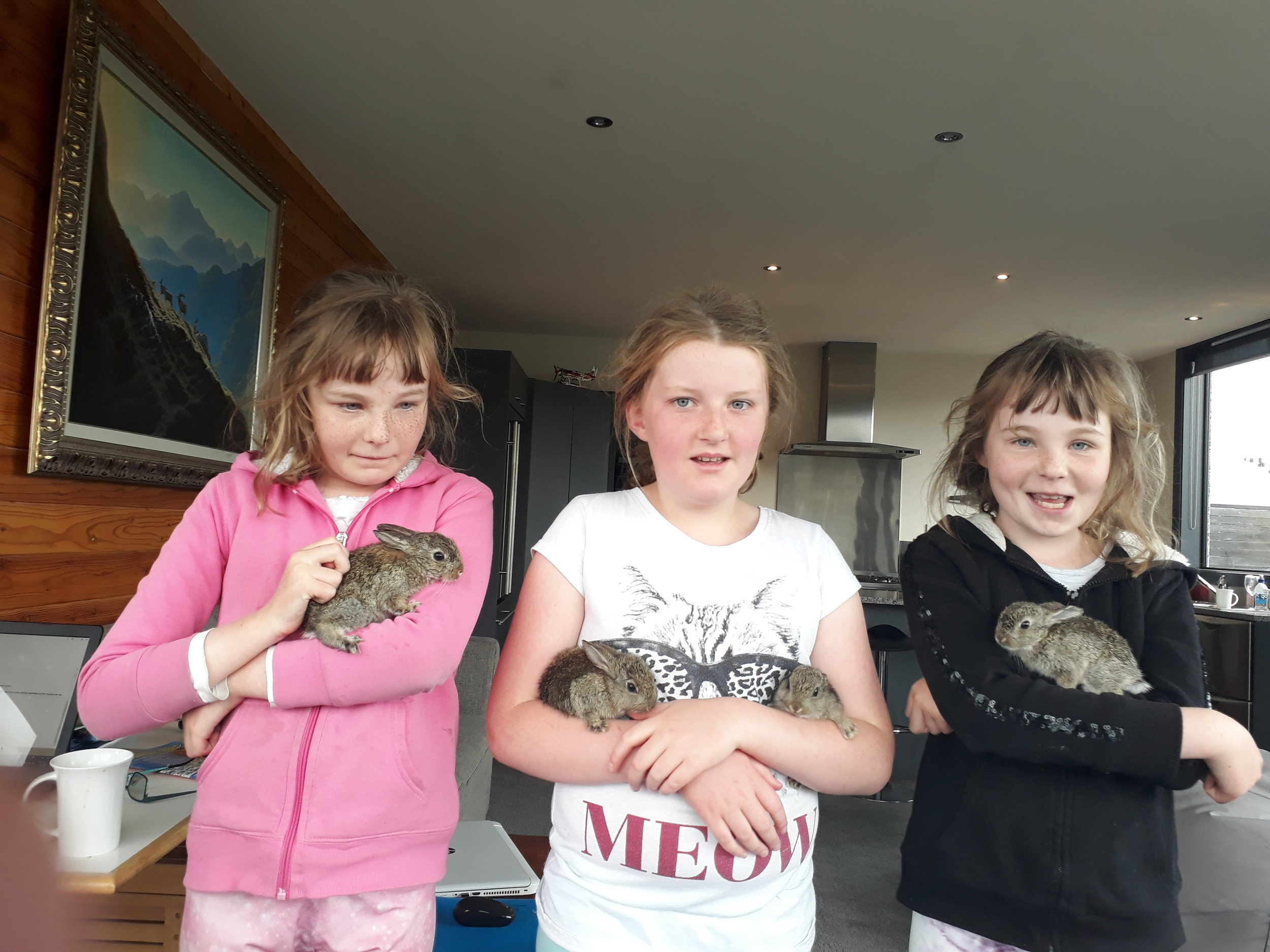 The Patterson children with some baby bunnies that were dug out of the garden