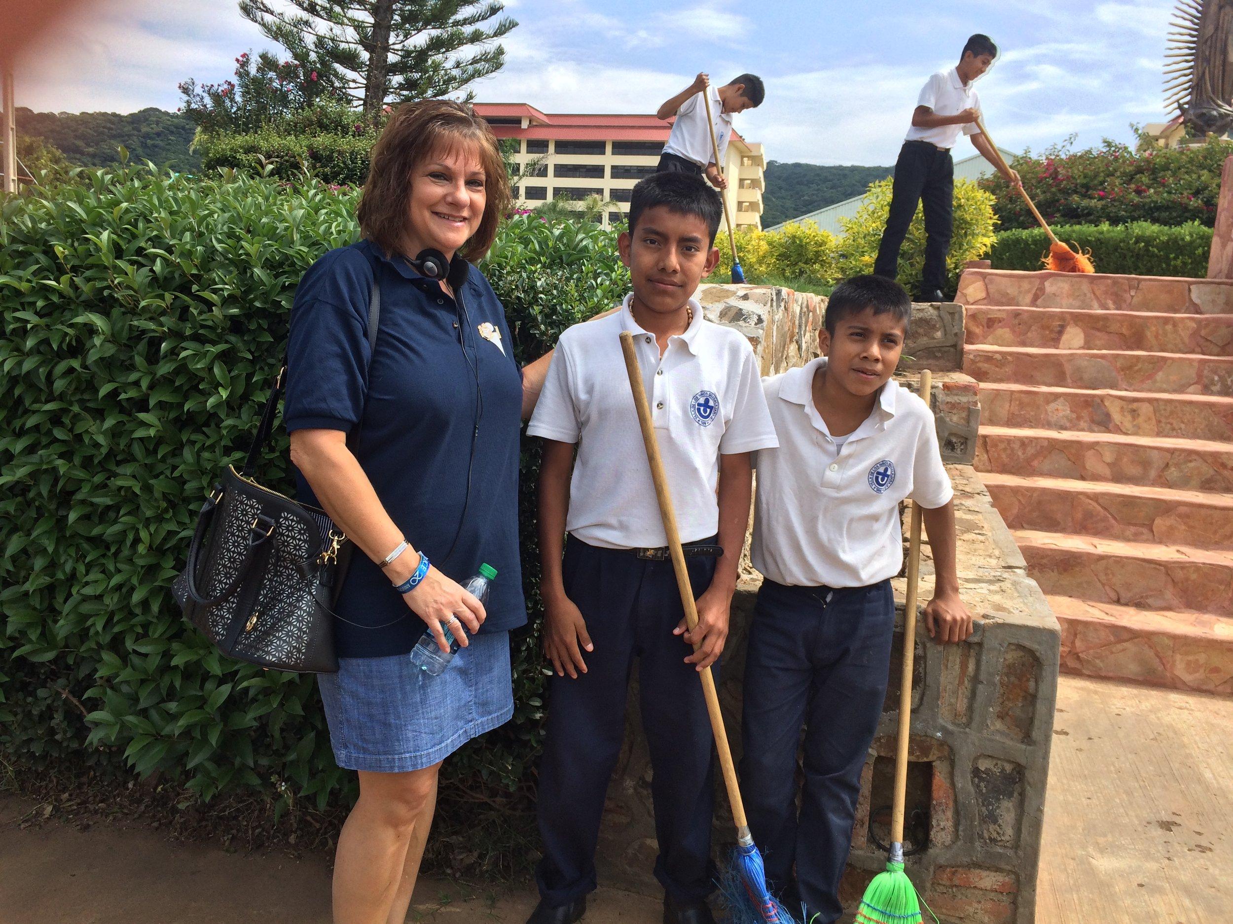 Gau visiting the Villa de los Niños, the boys school sponsored by the Nice Foundation.