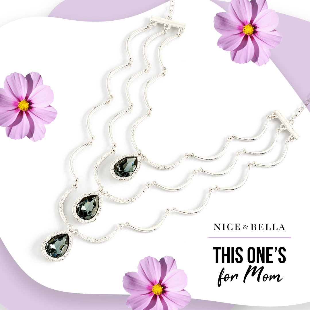 Layered statement necklace with grey crystal stone drops #118161L