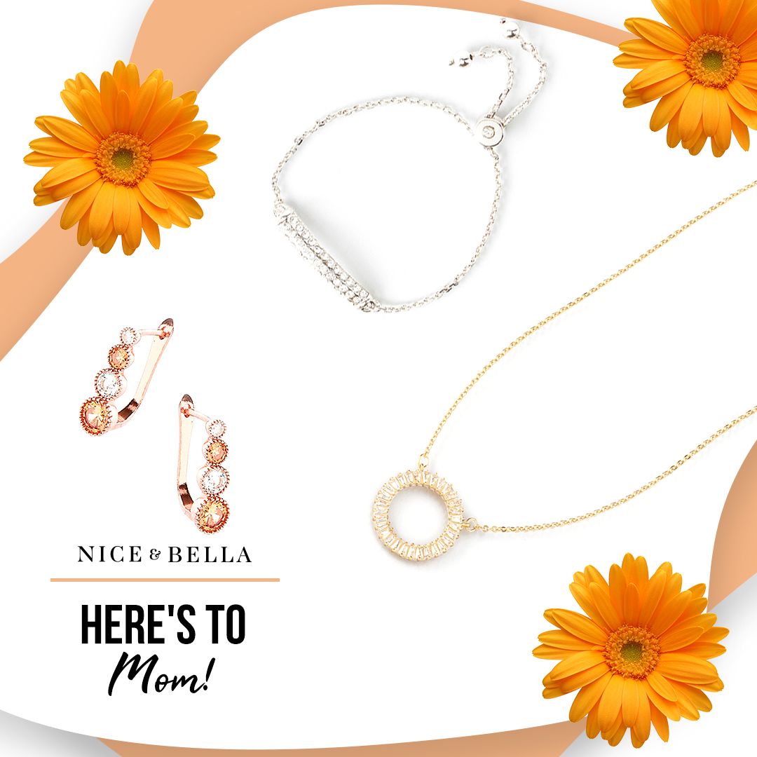 Sparkling adjustable bracelet with crystal stones #118136L / Rose gold and crystal stud earrings  #118672