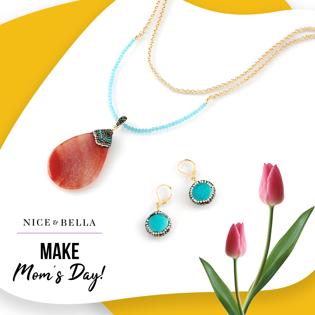 Layered necklace with natural stone pendant - #118333L, Drop earrings with turquoise and crystal stones - #118334L.