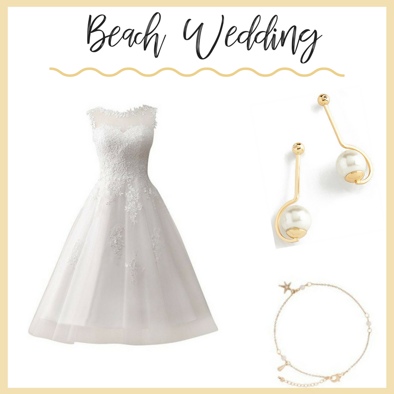 A beach wedding is a favorite in the summer season. A short, delicately adorned dress is perfect for a beach wedding. To stay beautiful and to the theme, it is paired with gold plated pearl earrings and a gold plated, crystal and star-fish accented anklet.  Sku's: EE120, 118455L