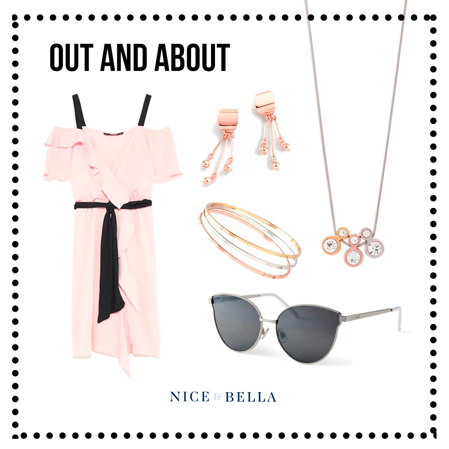 Another pack-light outfit idea is this  pink dress  contradicted beautifully with a black ribbon belt, perfect for a picture in front of the amazing Eiffel Tower! It's paired with our beautiful rose gold line of earrings, necklace and bracelet trio. Add some chicness to your style by throwing on some stunning silver shades.  Sku's:  1181312 ,  118633 ,  218484L ,  118496