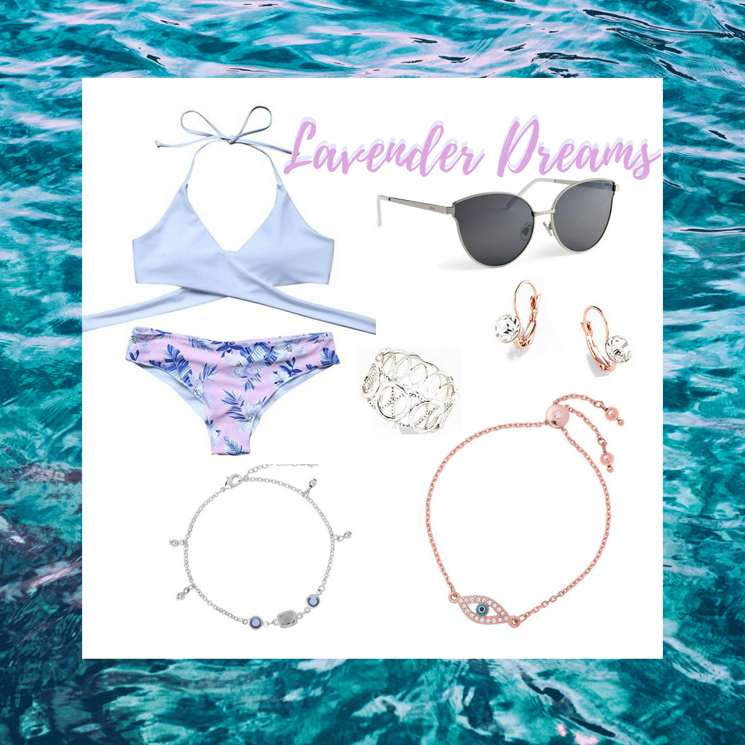 This beach style consists of a strappy top and leaf designed bottoms. It's paired beautifully with rose gold earrings and bracelet, a rhodium anklet and ring. To top off the look and keep your eyes safe from the sun, amp up your look with some chic grey sunglasses!  SKU'S: EE123, 118491L, 118666, 118405L, 1181312