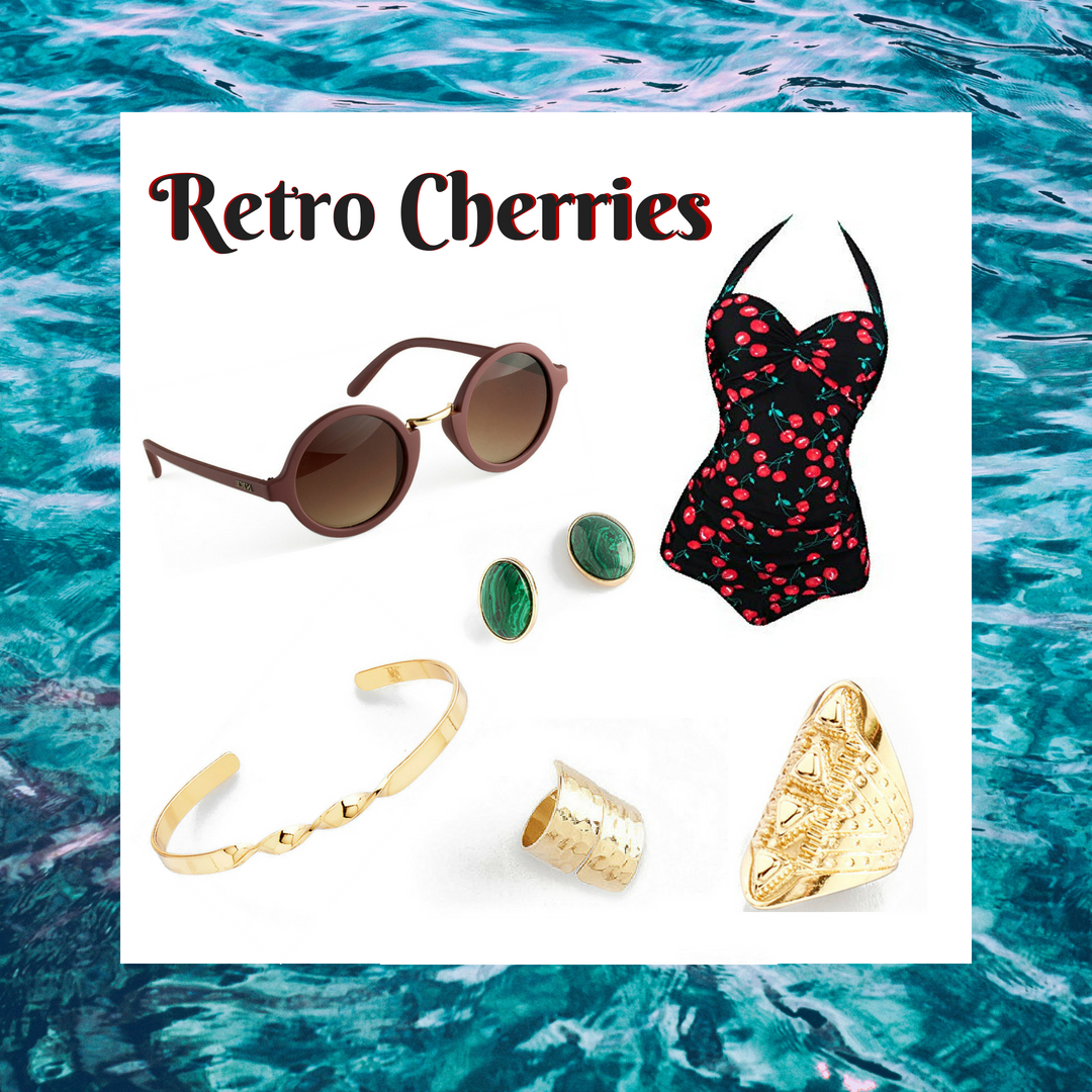 Go back in time with this amazing retro fit! This beautiful cherry one piece bathing suit is paired with our maroon sunglasses, emerald green earrings, gold bracelet and textured rings.  SKU'S: 118462, 218687, 118317, 118767, 3171212