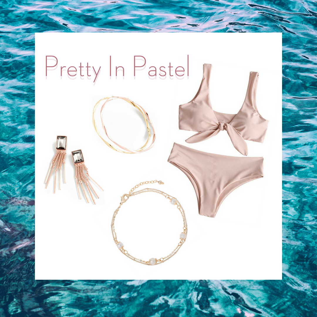Pastel colors are a summer 2018 must have in your wardrobe! Flaunt this beautiful pastel pink bathing suit accented with rose gold earrings and bracelet duo. Add some sparkle to your sandy steps with our beautiful pearly anklet.  SKU'S: EE128, 218481L, 218486