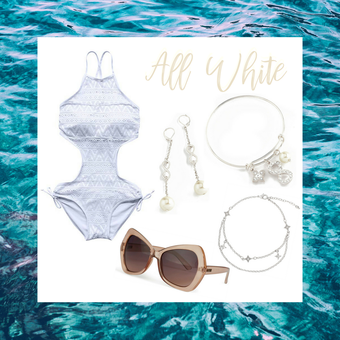 Match the oceans waves and hidden pearls with this textured one piece bathing suit. It's paired with rhodium, pearl accented, infinity earrings, and bracelet. Spice up your beach look by adding our beautiful rhodium anklet and nude sunglasses.  SKU'S: P145, EE124, P146, 1181322