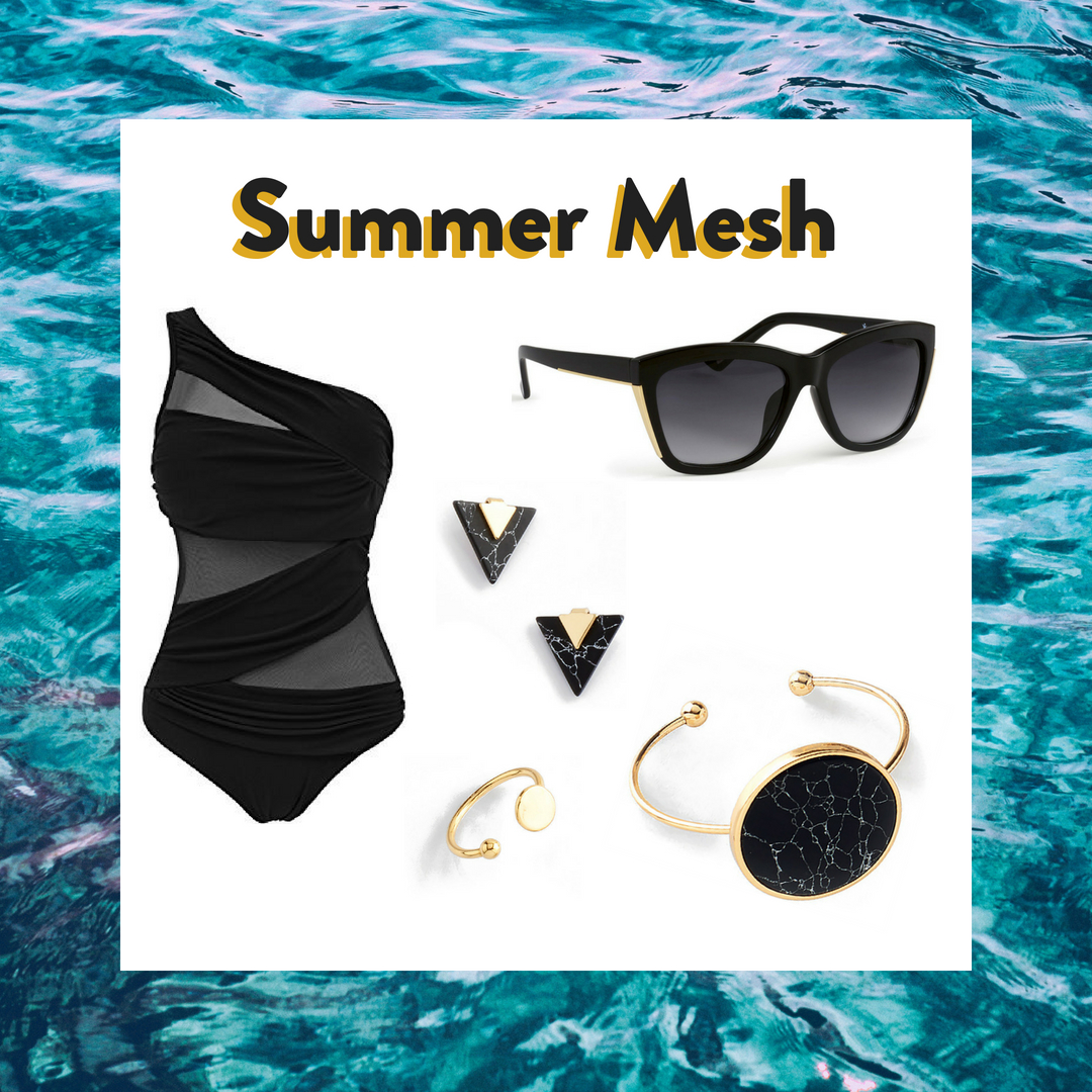 Add some elegance to your beach outing in this black mesh bathing suit. It's paired with fine marble imitation earrings and bracelet, gold ring and black UV protection sunglasses.  SKU'S: 118425, 218436, 218545, 1181332