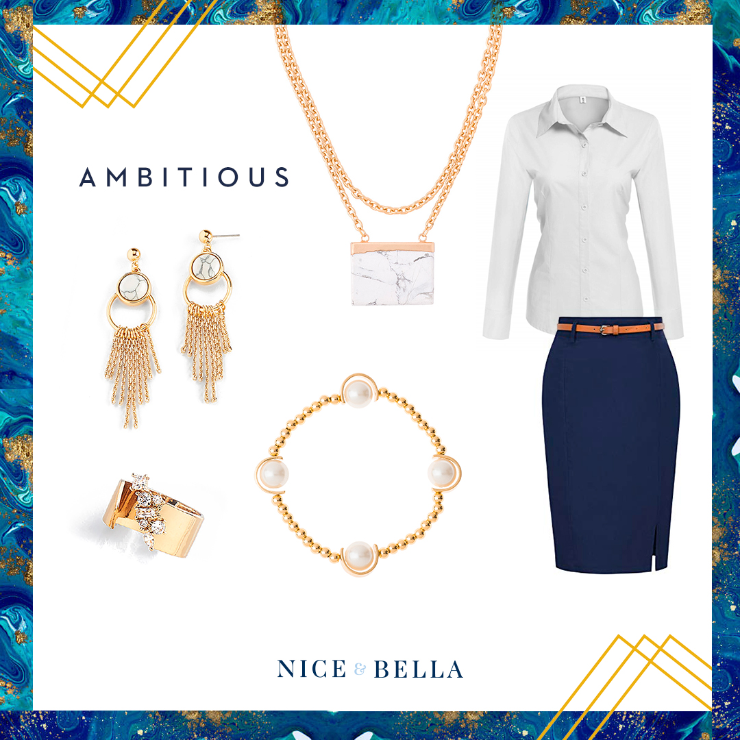 Show your ambition and business power with this classic navy pencil skirt and white button up shirt. This look is paired with marble accented, gold necklace and earrings, pearl bracelet and crystal encrusted ring.  SKU's:  118341, 118344L, 118586, 118276
