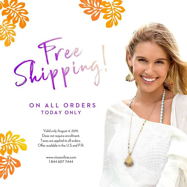 Sunday, Funday! EVERYONE gets FREE shipping on all their orders today. 🌺 💃Visit niceonline.com to shop our collections. 🛍💍 . . . Offer valid during August, 4, 2019 in the U.S. and Puerto Rico. Does not require enrollment. Taxes apply to all orders.