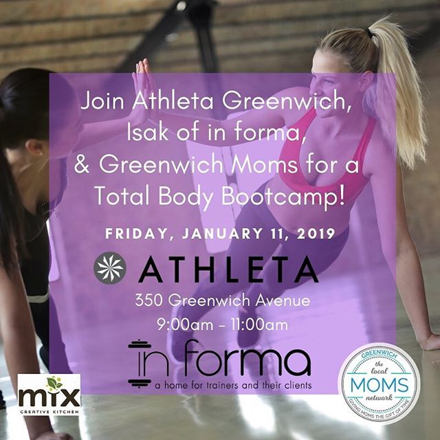 Who is ready for a New Year reboot?! Join us next Friday, Jan. 11 at 9am as we kick off 2019 with @athleta @ispanjolfitness @greenwich_moms and @mymyxkitchen ... a FREE total body workout with Isak, awesome FREEBIES, and delicious post-workout bites... you won't want to miss this! Tag a friend and join us. [link in bio to register] 🖤💜 . . #greenwichct #greenwichmoms #personaltrainer #athleta #fairfieldcounty #newyear