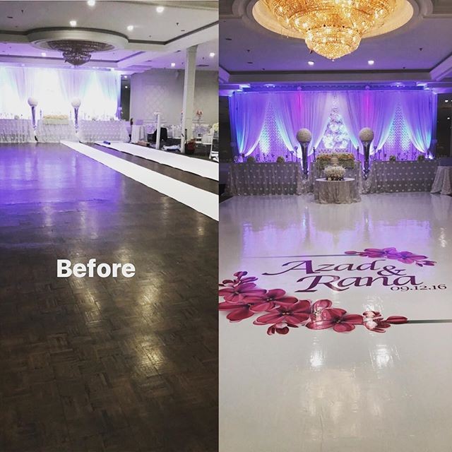Before and after shot taken from one of today's floors. Contact @marquee.design for all your wedding needs!  info@marqueedesign.ca or 647-771-8007