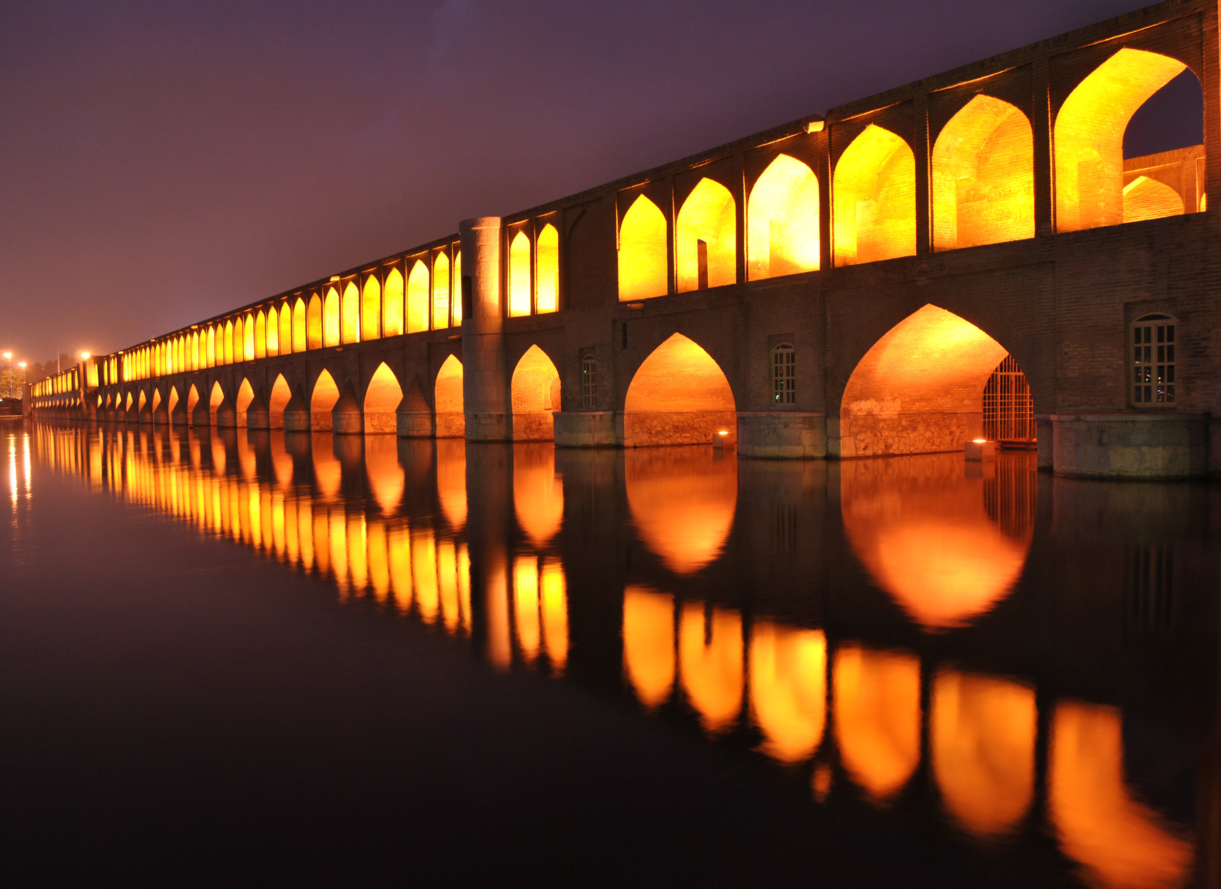 Sio-se-pol (the bridge of thirty-three spans), Isfahan (construction ended in1602 C.E.)