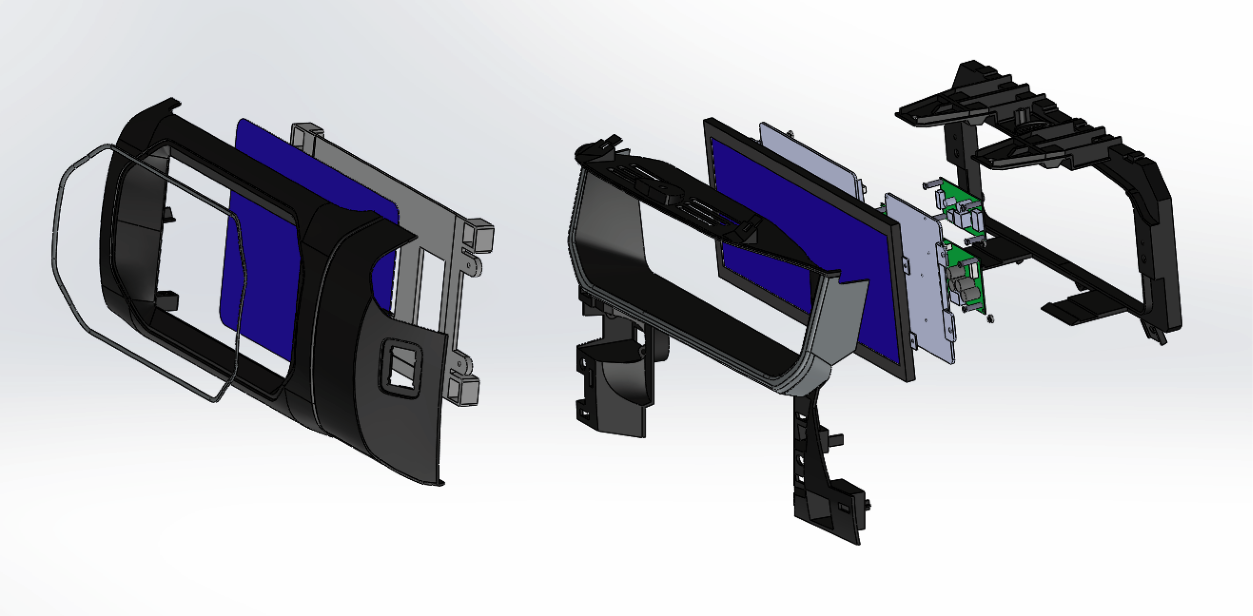 CAD - Using surface and solid modelling in Solidworks, the new parts were created. Existing parts such as the screens and PCBs were placed in the assembly to ensure everything fit properly.