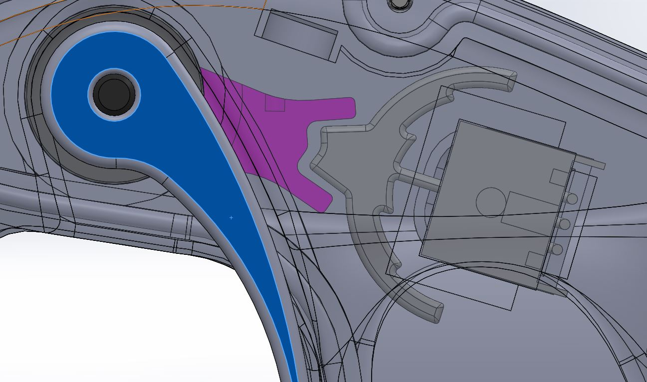CAD - Using Solidworks I designed a mechanism (purple) that moved the inner pre-existing trigger when the outer trigger (blue) was moved. This allowed the throttle to be adjusted by the user.