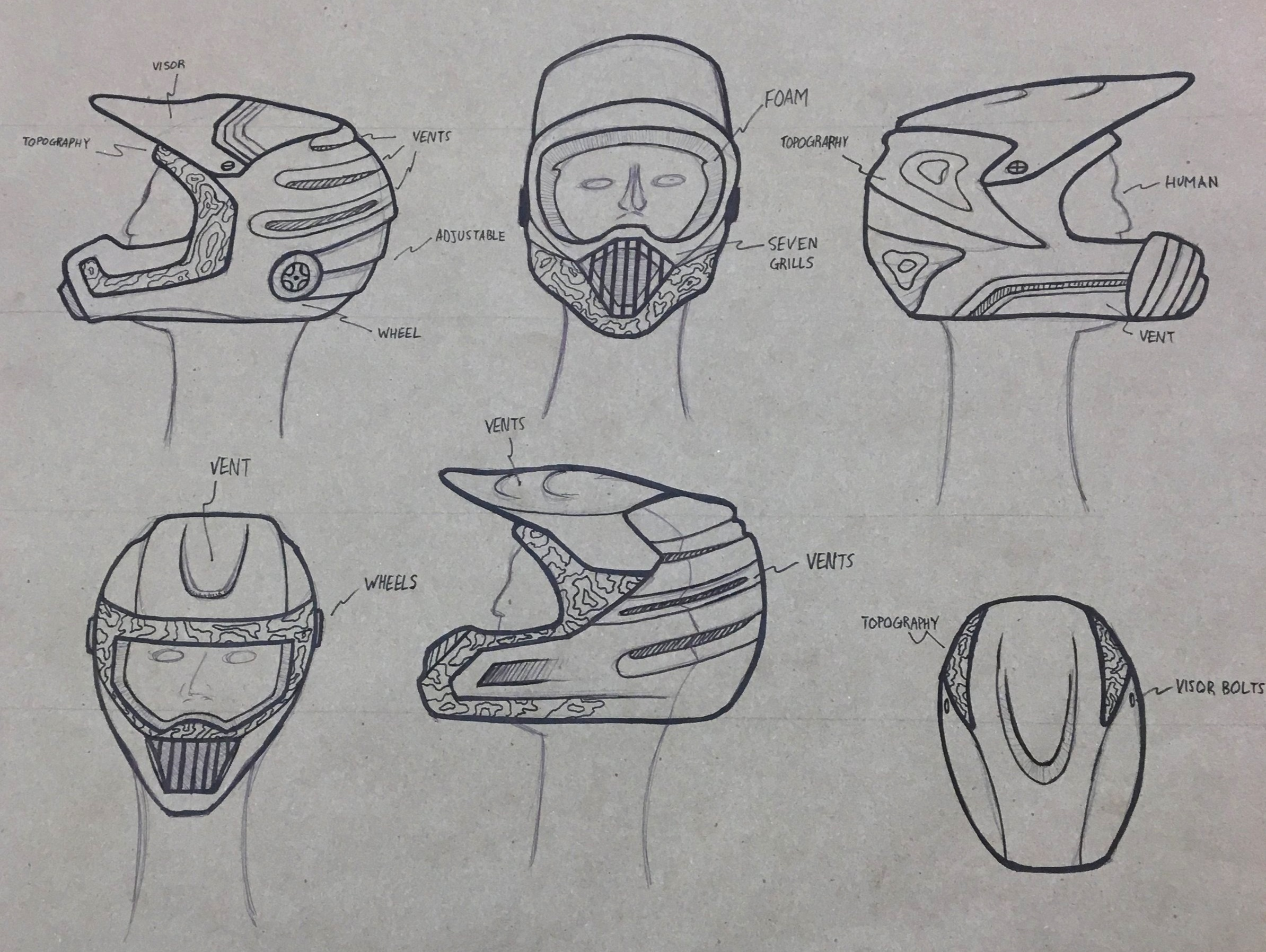 Ideation - In these sketches vent styling and helmet cmf was explored.