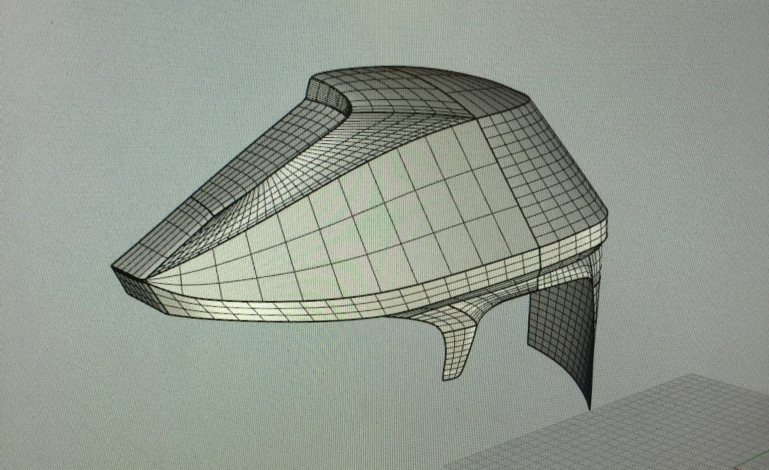 Rhino Surfacing - In Rhino, the mesh was converted into a solid and mirrored to create a full helmet.