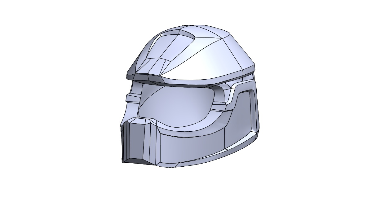 "Solidworks Model - Once the helmet was turned into a solid, it was brought into Solidworks and given a few chamfers. Since the completion of this project I have learned it is much easier to go from surface to solid model using the ""scan to 3D"" tool in Solidworks."