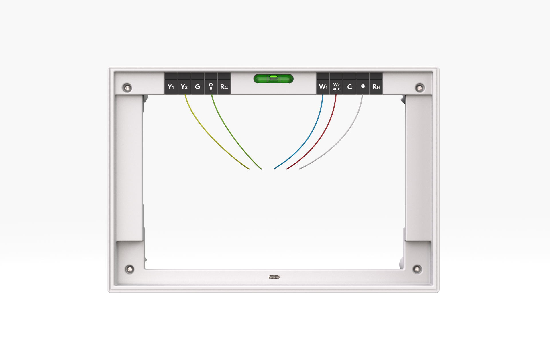 Thermostat Wire Clips - The device is powered using existing thermostat wiring, allowing for easy installation and no extra wiring. The labels on the clips ensure the wires are installed correctly. The level helps users ensure the back-plate is aligned properly during the installation process.