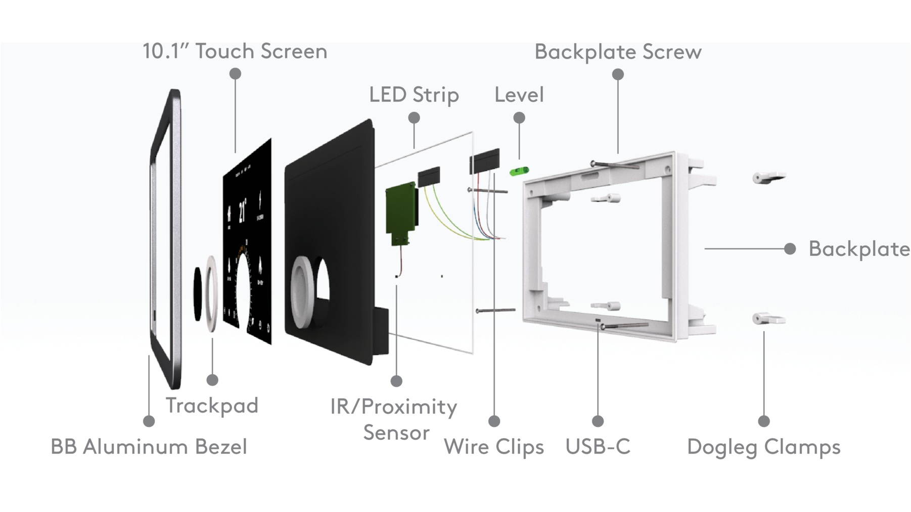 Technical Components - Since the device is mounted in-wall, most of the components are hidden. To accomplish this, dogleg clamps were used to secure a back-plate to the wall. The internal components are attached to the bezel and snap-fit to the back-plate, allowing for easy removal.