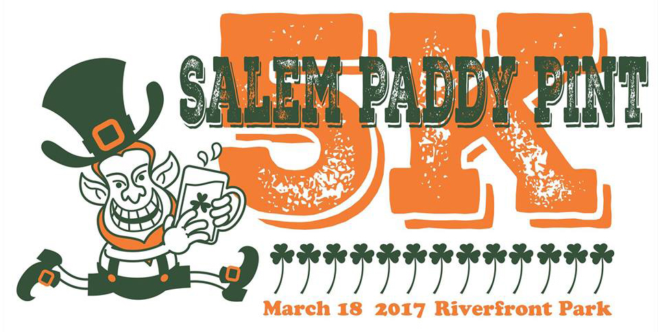 Salem Paddy Pint Logo - Leprechaun Running with a Pint of Ale