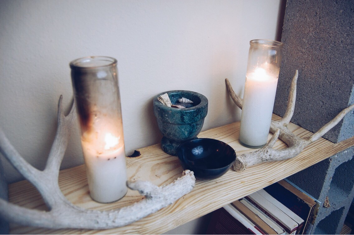 This is the basic altar setup, yours doesn't need to look exactly like mine so feel free to decorate as you like and adjust it to suit your needs and personal taste.
