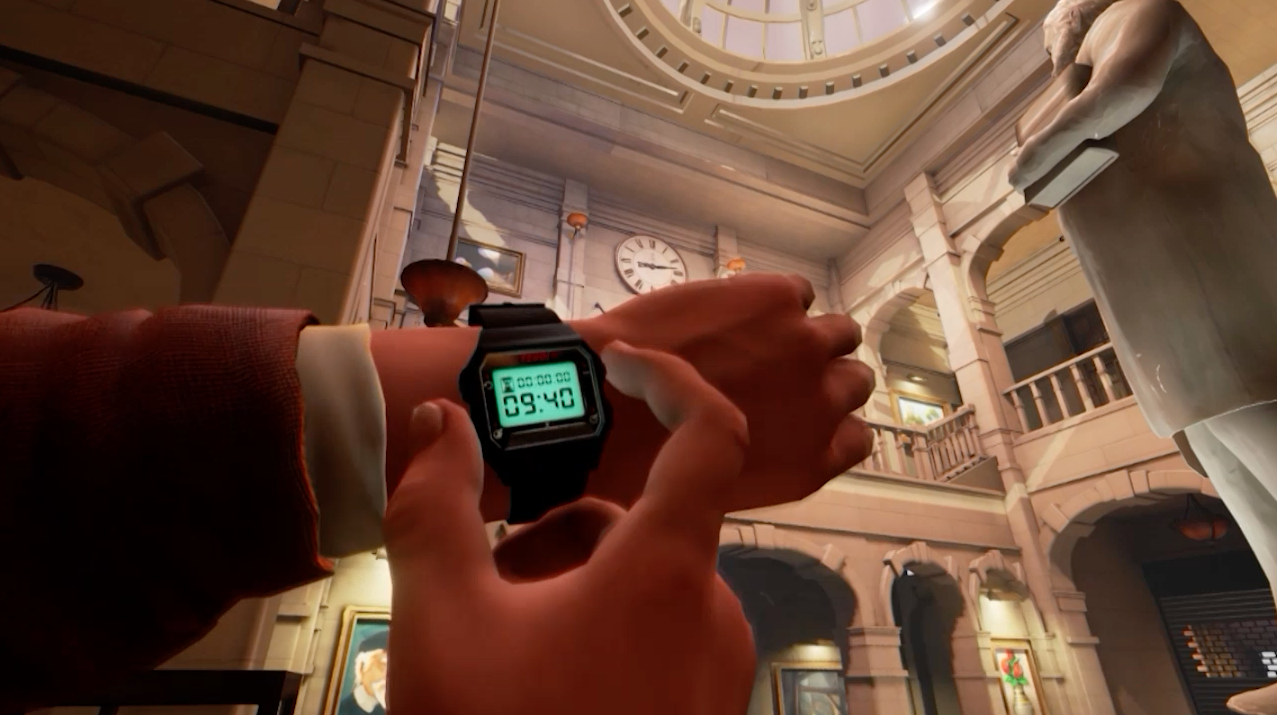 An early shot to emphasize the realtime nature of the gameplay by highlighting a clock and your watch