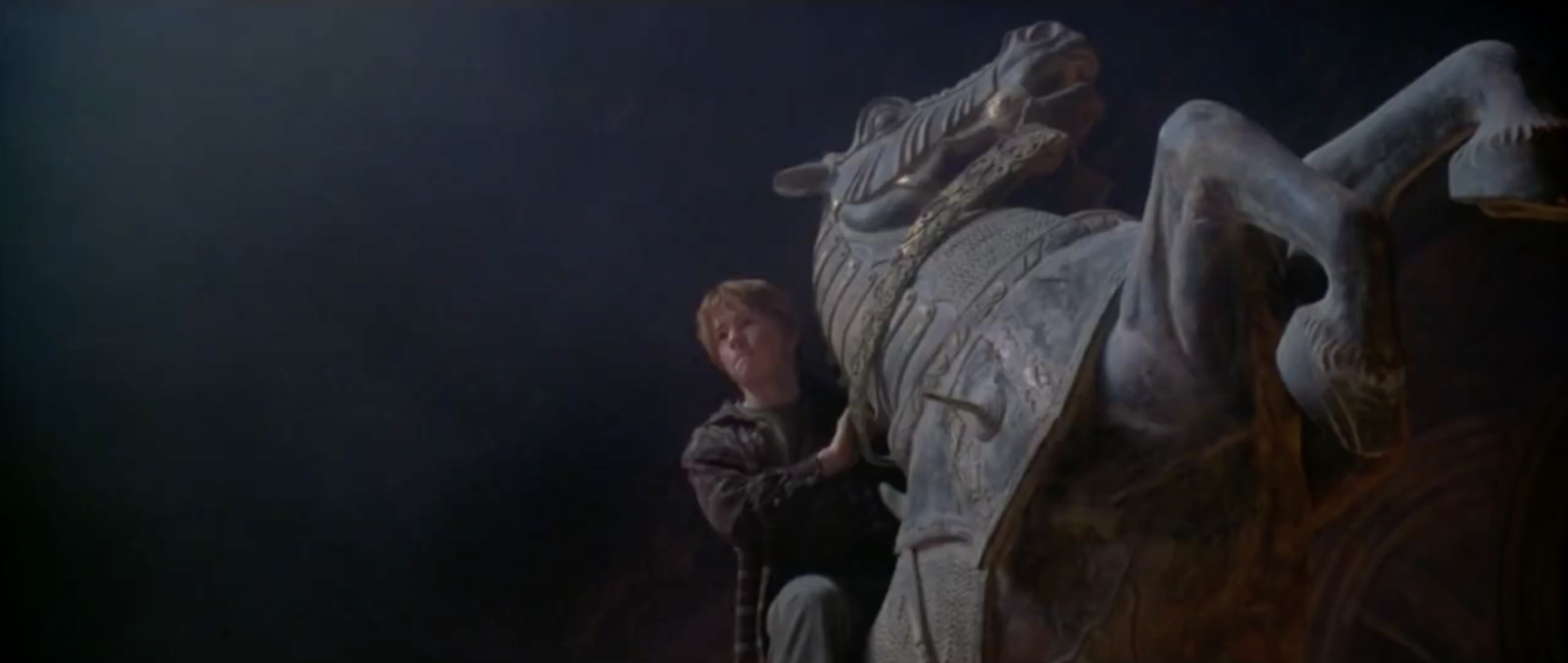 This is the iconic scene where Ron Weasley's stuntman is on the giant knight piece :P