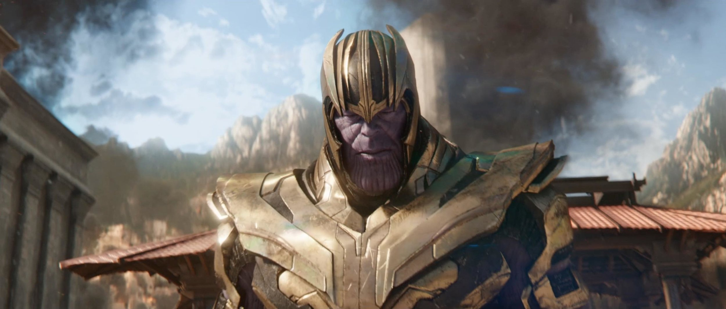 "Even this shot of Thanos in full armor makes it feel like you're seeing ""more"" in this trailer just because in the teaser he didn't wear it."