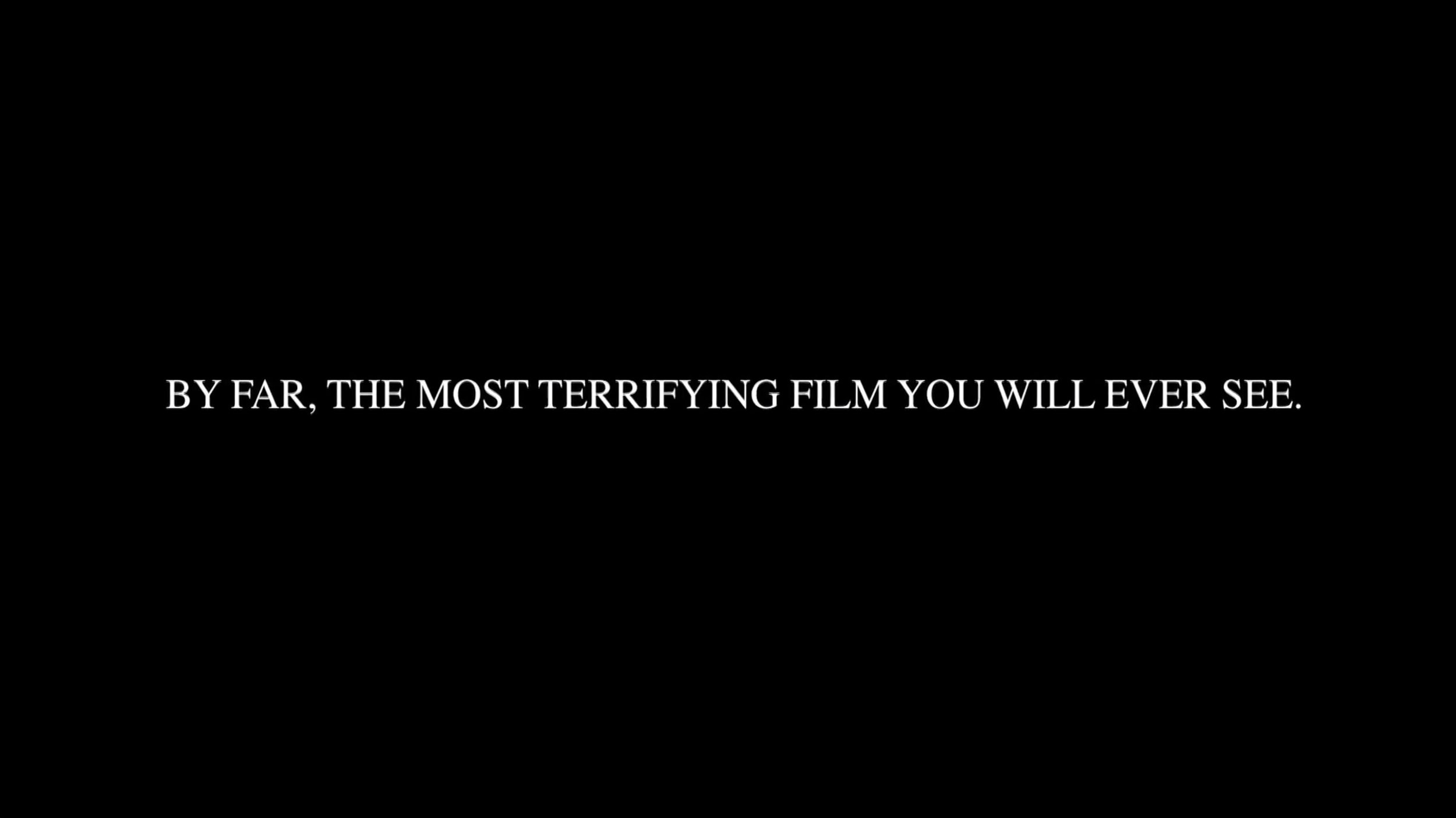"""This title card literally frames this as something terrifying, but the serif typeface also signals this is an """"important"""" film."""