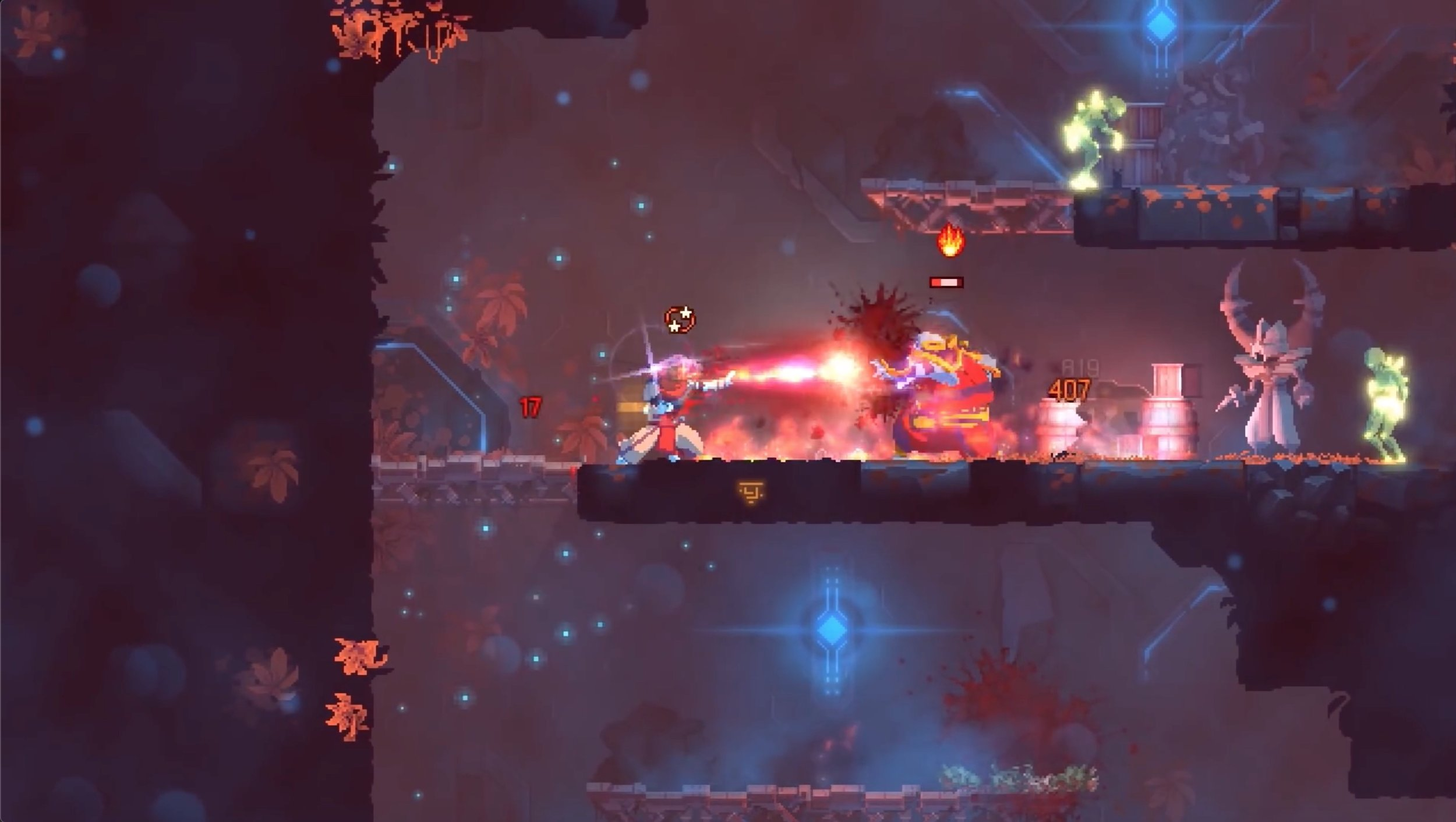 This shot has: the player using a fire weapon on the grappling hook enemy, a couple zombies on the periphery, and it's set in a new environment for this particular update.