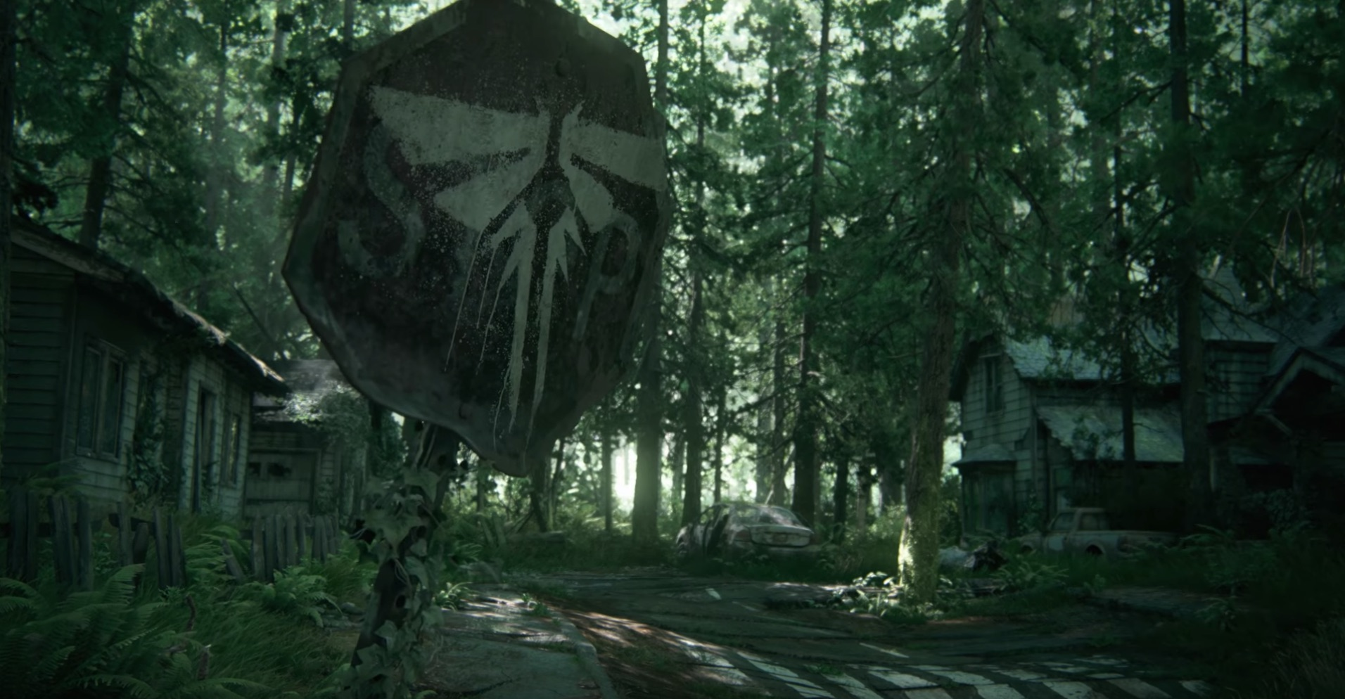 The fifth shot appears 30 seconds in, and reveals a stop sign with the stencil painted logo of The Fireflies; there's a slight rack focus to the logo. This confirms the trailer is for the sequel to  The Last of Us . This is when the audience at PlayStation Experience  erupted into cheers .