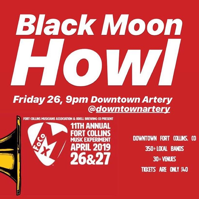 See you @downtownartery Friday 26 at 9pm @focomx  #focomx  #focomx2019 #fortcollins #coloradomusic @juanpatterson @leorleorleor @professorfoxband  #blackmoonhowl