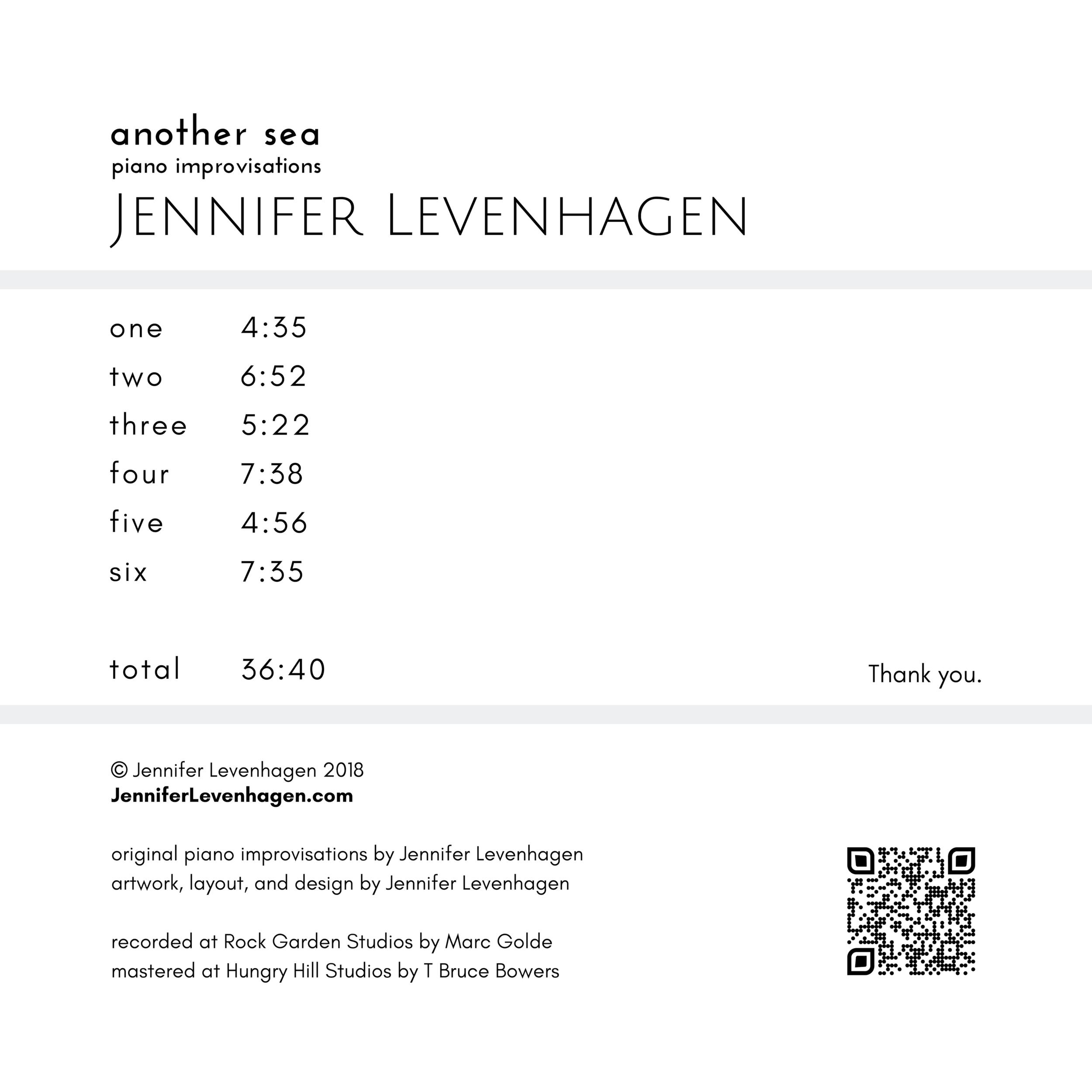 with updated tracks QR 5000x5000 JenniferLevenhagen.com original piano improvisations by Jennifer Levenhagen artwork, layout, and design by Jennifer Levenhagen recorded at Rock Garden Studios by Marc Golde mastered a.png