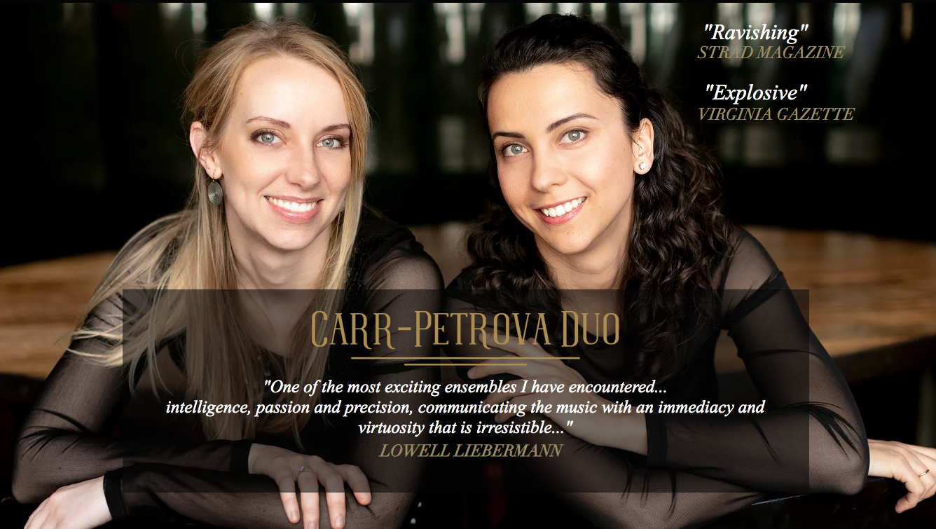 DC Strings Workshop is proud to present the Carr-Petrova duo in residency, September 12-16, 2019 in partnership with The General Board of Church and Society, The United Methodist Church's denominational social justice agency on Capitol Hill.  Click here  to learn more about this residency.