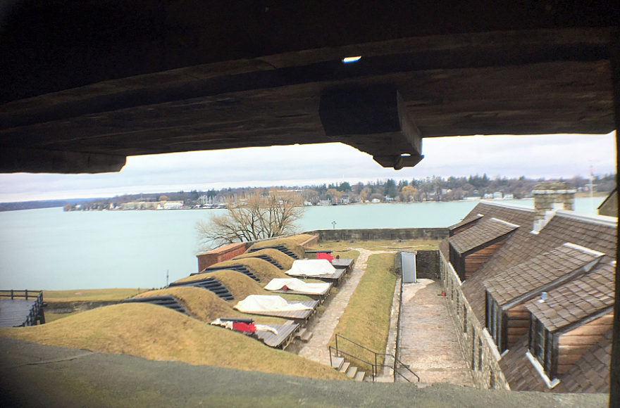 A view from the other side of the tower, looking toward the left. The land on the other end is actually Canada.
