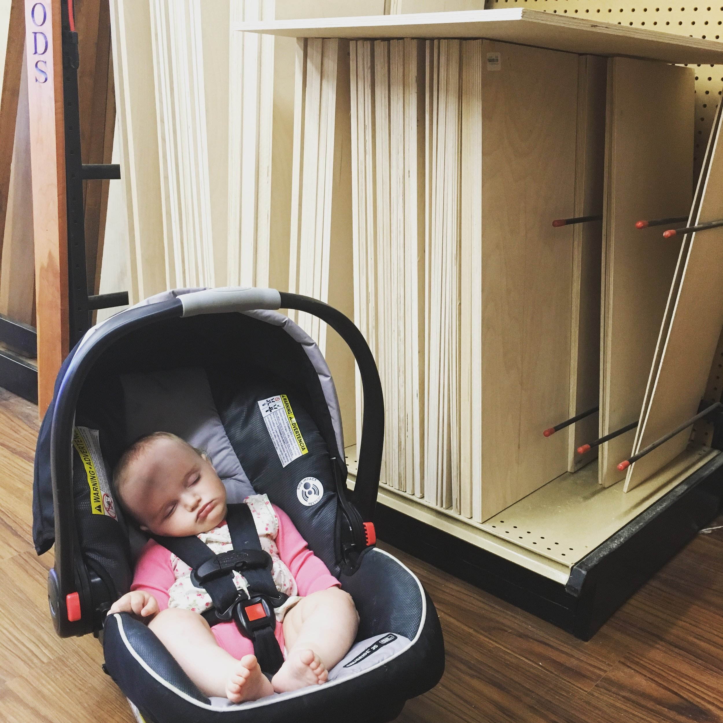 Alice catching some Z's at Rockler