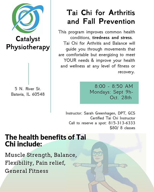 Tai Chi for arthritis and fall prevention will start on Monday mornings in our Batavia clinic September 9. Only 8 spots left!! Call now to reserve your place. #MOVECatalyst ##RECOVERCatalyst