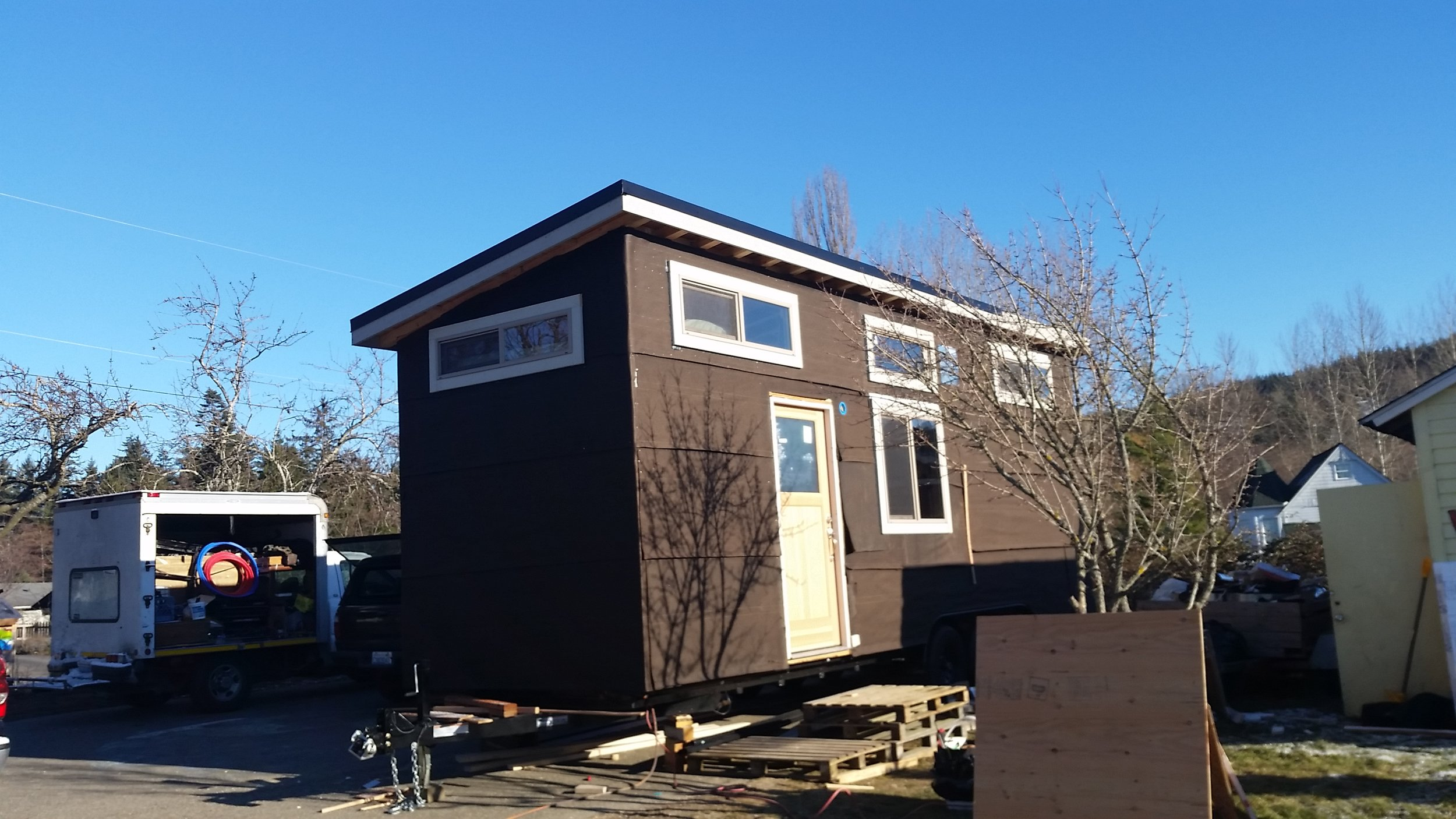 An in progress tiny house my dad and I built for a client.