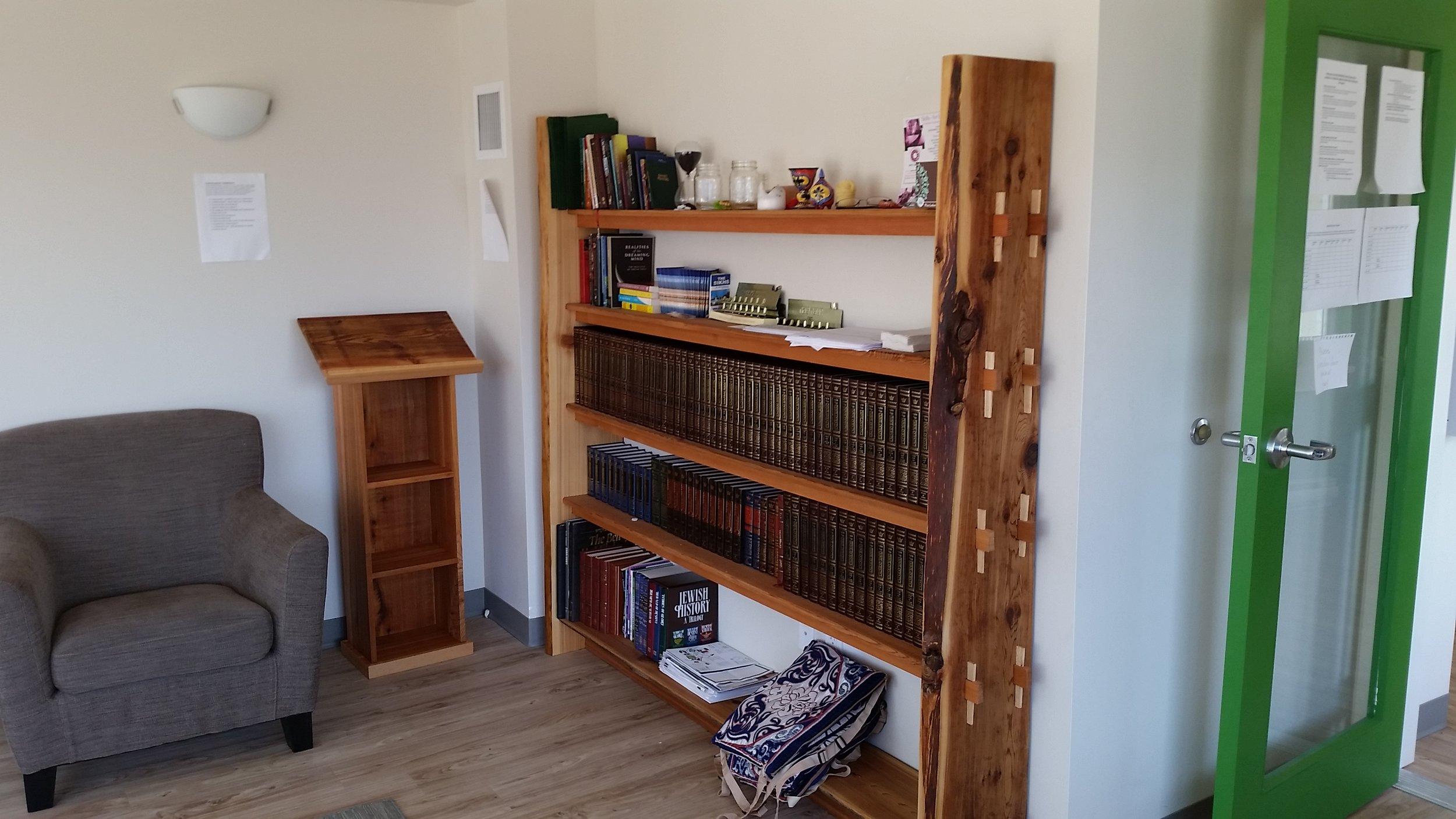 A bookshelf and podium I built for the multi-faith club at Quest University Canada.