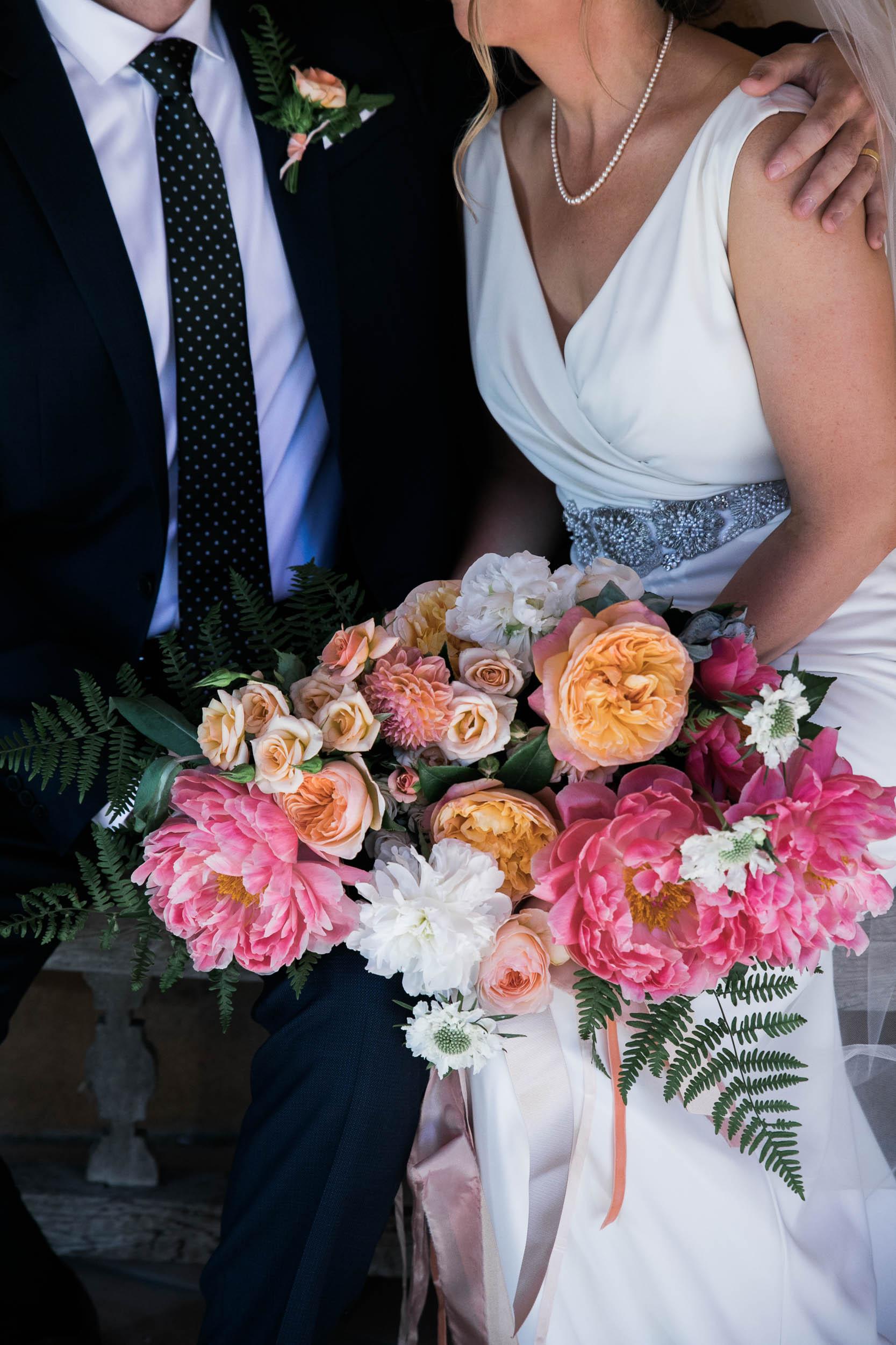 Burst Bloom bridal bouquet Corkscrew Cafe Carmel Valley Wedding