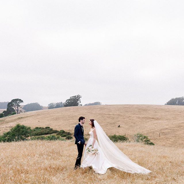 This ceremony backdrop at @thehavenattomales really didn't need much in the way of decor. E+J loved the cows lazily grazing the hillside and romance of the fog rolling in from the bay. @revelfloral added the perfect accent to the landscape: moody yet, colorful, evoking vibes of  a beautiful autumn in northern California. | Venue: @thehavenattomales  Planning: @flutterevents  Florals: @revelfloral  MAUH: The Powder Room
