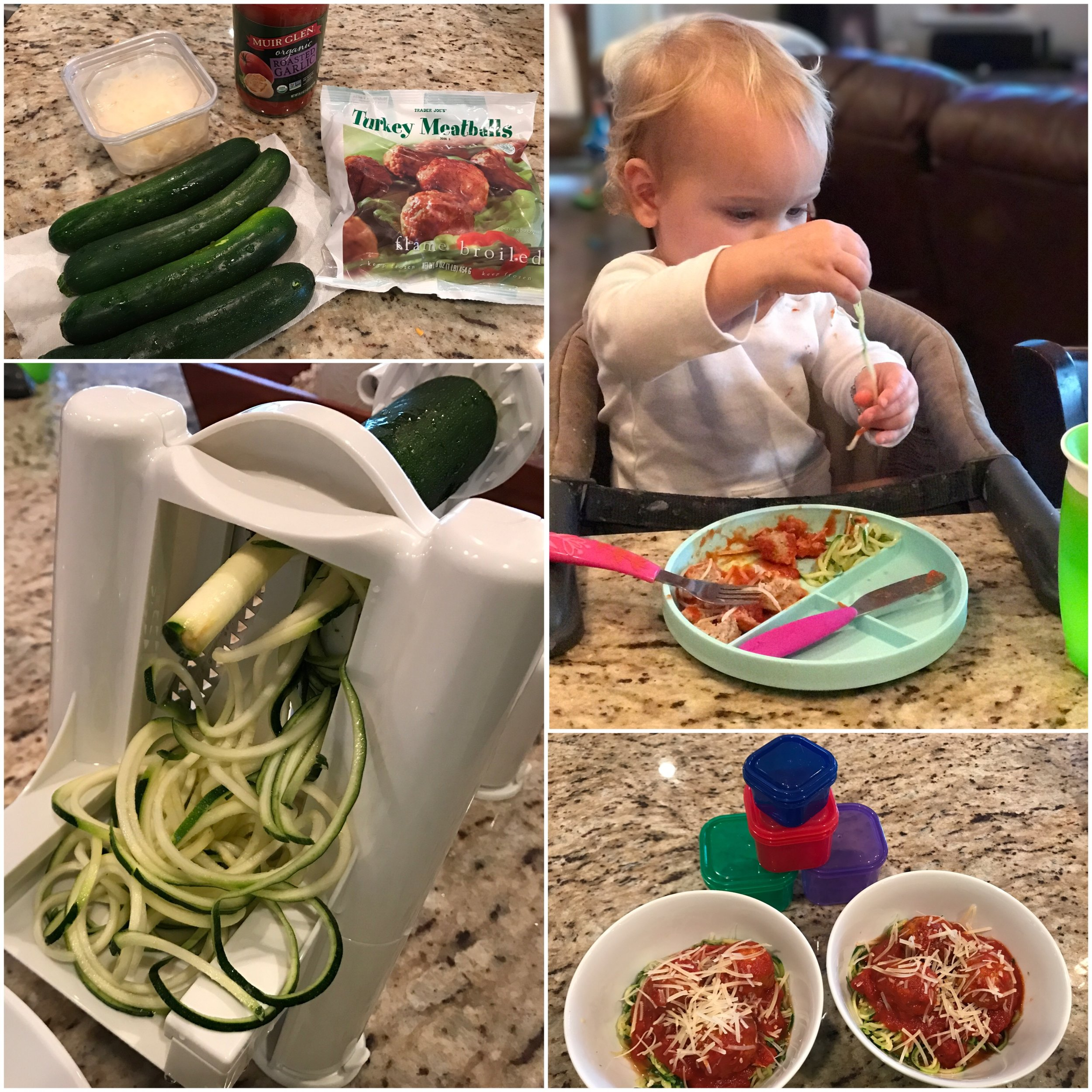 1. Spiralize the zucchini and then saute in 2 tbsp cooking oil of choice (I use EVOO) 2. While zucchini is cooking, heat meatballs in skillet according to package directions + add sauce 3. Separate into bowls, top with parmesan. ENJOY!