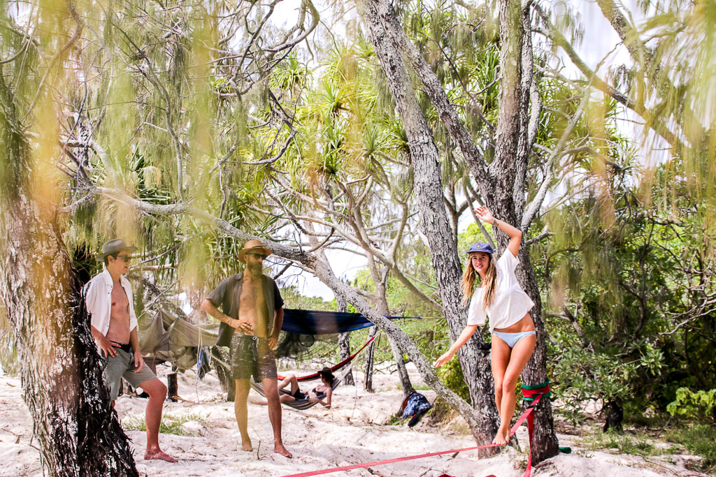 Slacklining and hammock hangs part of the daily rituals of island life.